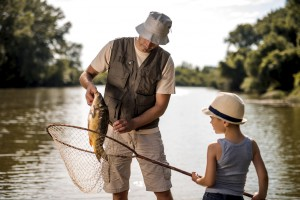 father and son summer fishing