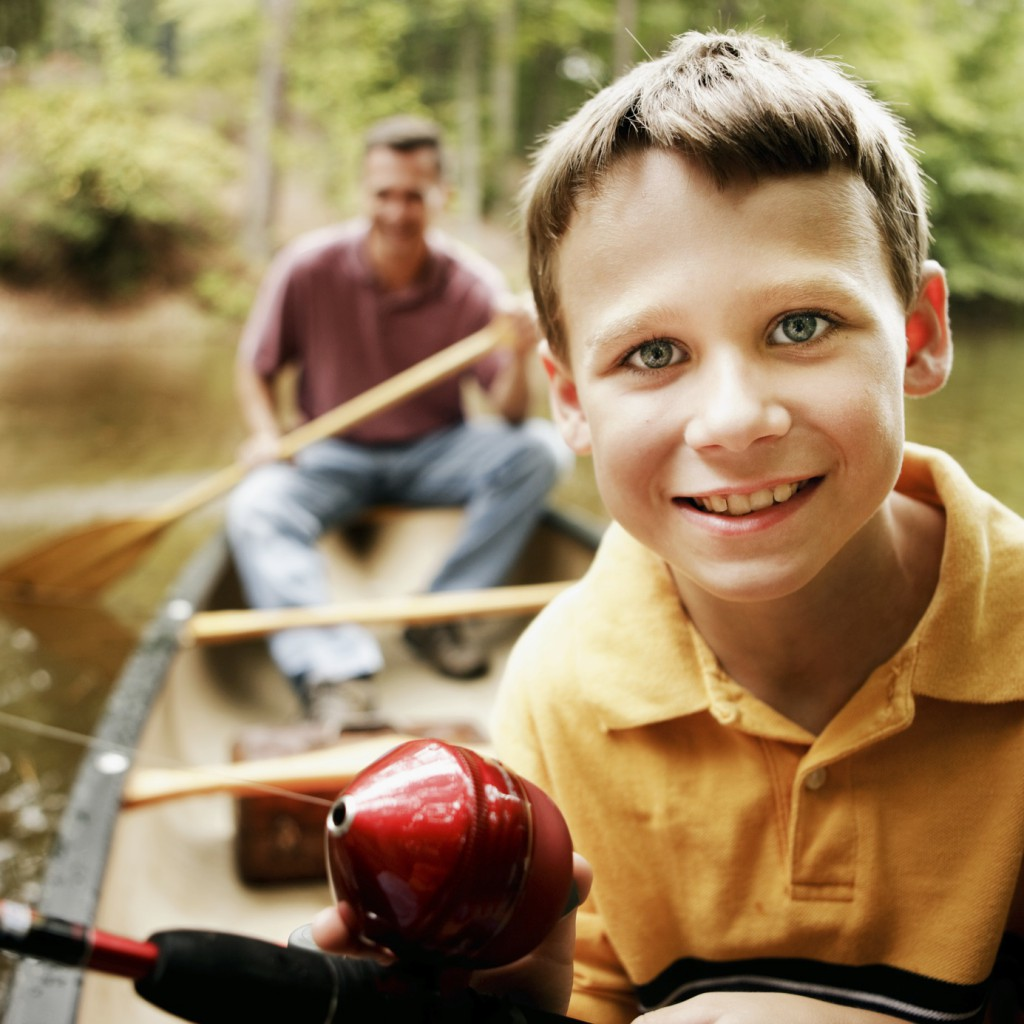 son and father fishing trip