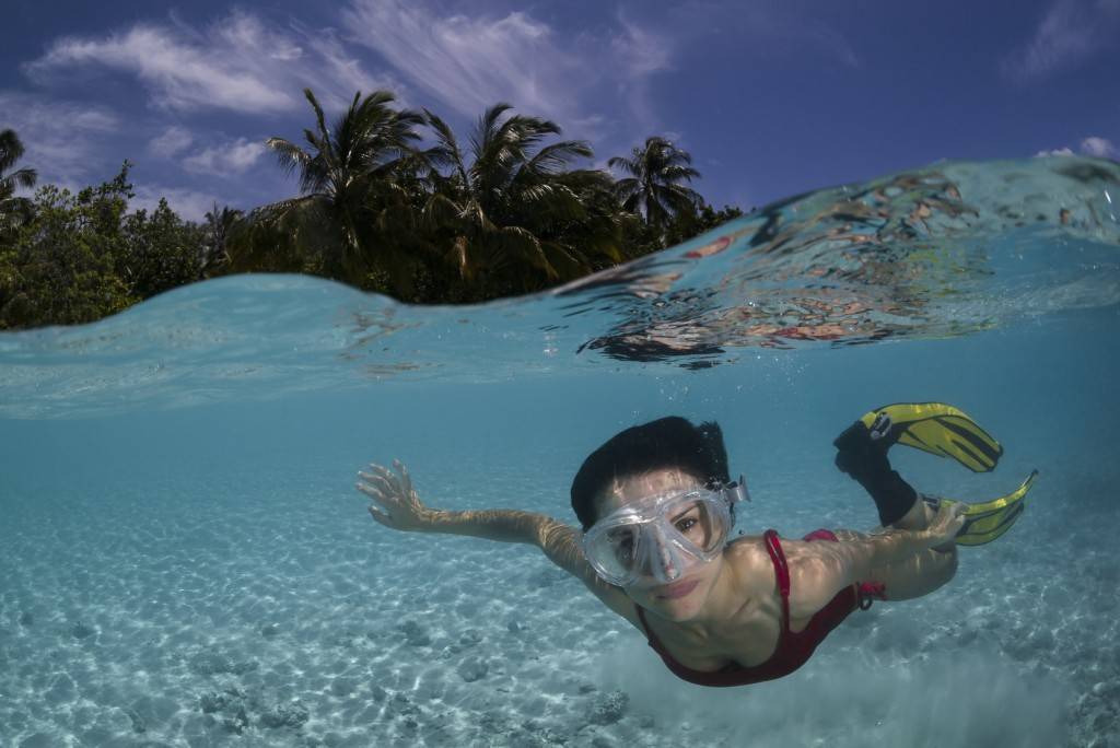 girl snorkeling in freshwater springs