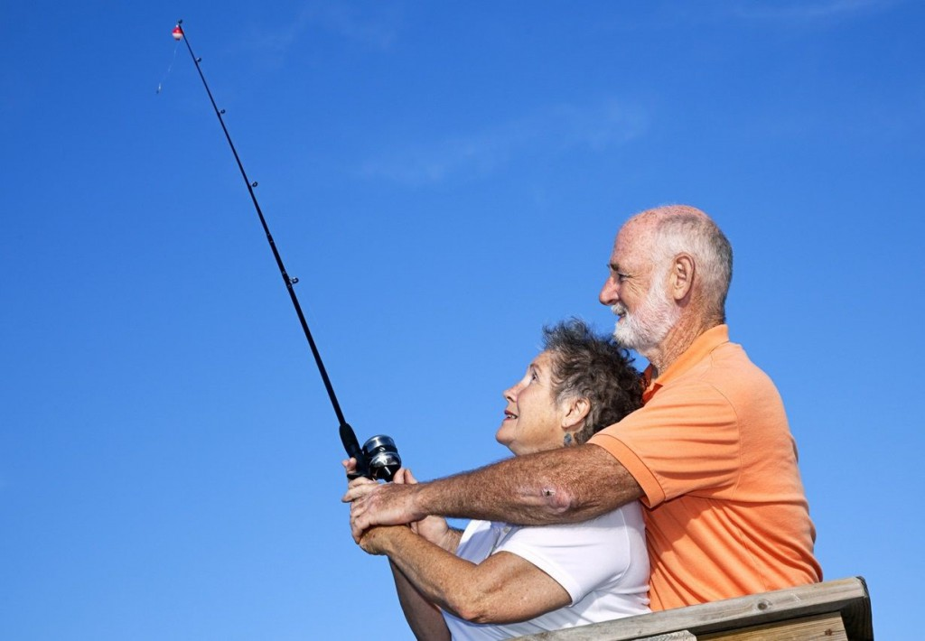 romantic fishing trip couple